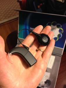 A Naida cochlear implant processor.